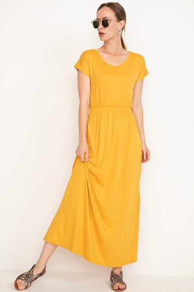 Kadın Sarı Bel Lastikli Uzun Elbise