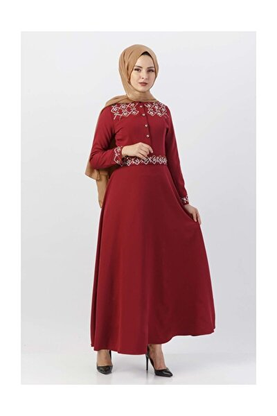 Pul İşlemeli Elbise Tsd9611 Bordo