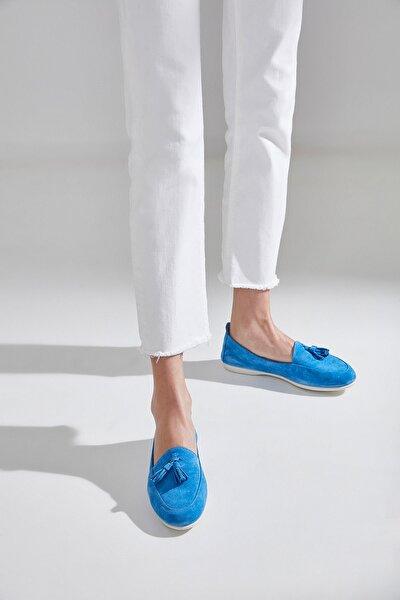 Hakiki Deri Mavı Kadın Loafer Ayakkabı 01AYH172410A620