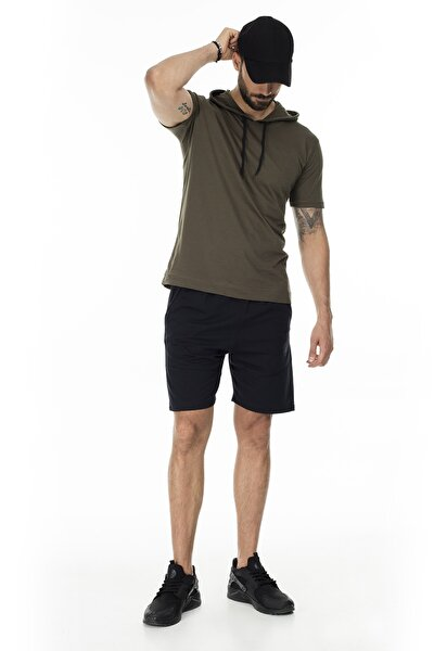Erkek Siyah Cepli Belden Bağlamalı Spor Slim Fit Short 568R167