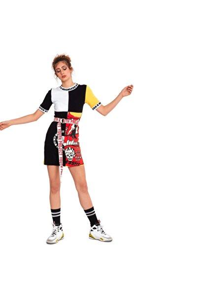 Kadın Kolaj Mini Elbise