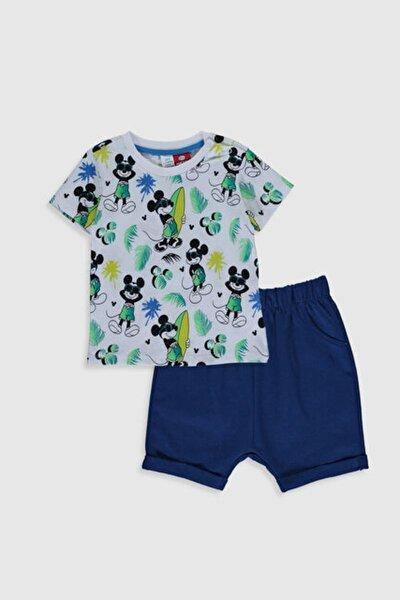 Mickey Mouse Erkek Bebek Yeşil Baskılı Lrr Bebek Takımları