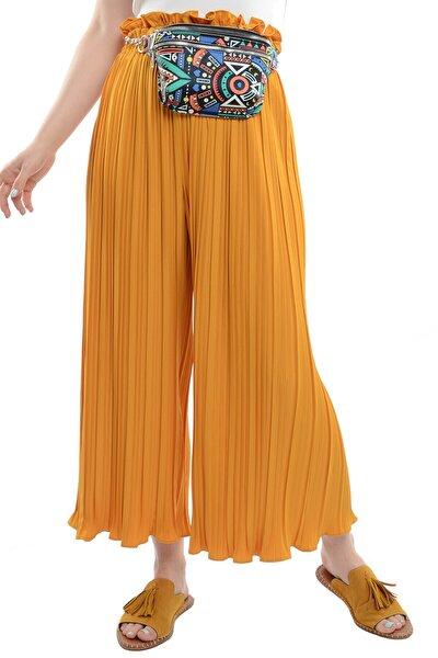 Kadın Hardal Piliseli Salaş Kadın Pantolon  19763015C2C
