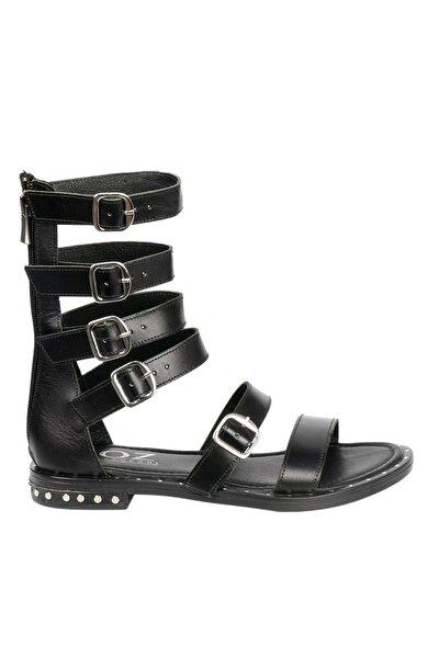 Kadın Siyah Hakiki Deri Sandalet