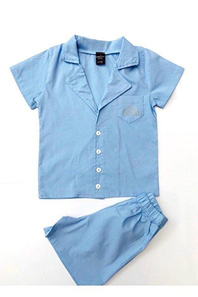 Mavi Yakası Swarovski Taşlı Erkek Çocuk Şortlu Pijama Takım