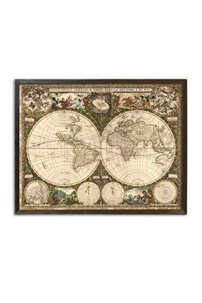 1800s Latince Tarihi Dünya Haritası Vintage Çerçeveli Ahşap Tablo