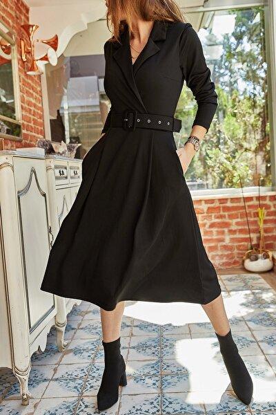 Kadın Siyah Çift Cepli Kemerli Elbise 9yxk6-41806-02