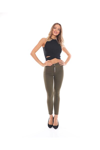 Kadın Haki Düğmeli Arkası Çift Cepli Skinny Likralı Dar Paça Pantolon