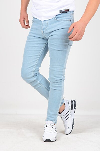 Erkek Skinny Jean Kot Pantolon Açık Mavi