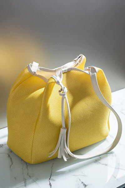Kadın Çanta Sarı Beyaz Tbc05