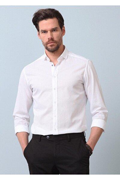 Erkek Beyaz Kareli Dokuma Uzun Kollu Gömlek RP10121345