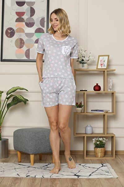 Kısa Kollu Şortlu Cep Detaylı Pijama Takımı