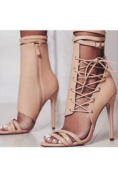 Kadın Bej Deri Topuklu Ayakkabı