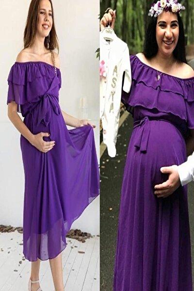 Carmen Yaka Fırfır Elbise