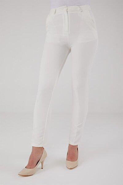 Klasik Dar Kesim Dar Paça Kumaş Pantolon-beyaz