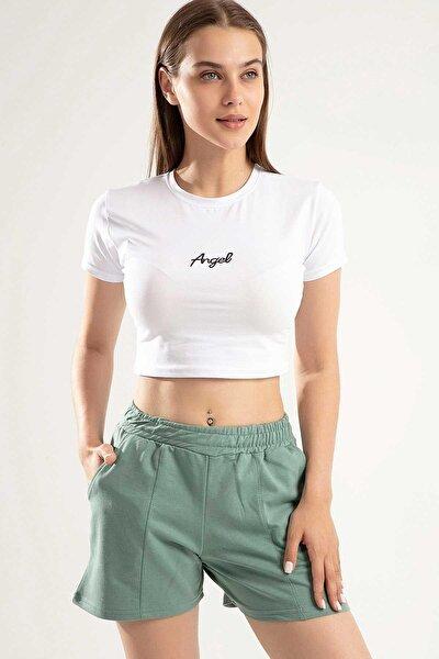 Kadın Angel Nakışlı Crop Ikili Şortlu Takım Y20s151-1504