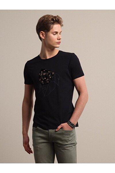 Erkek Siyah Baskılı Örme T - Shirt KP10120559