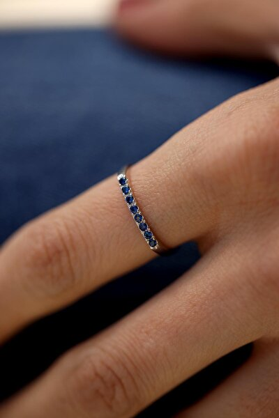Kadın Safir Taşlı Gümüş Minimal Yüzük İZLASLVR00039