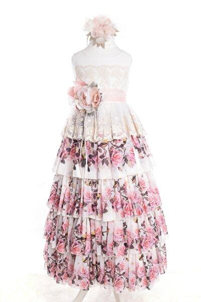 Pembe Çiçekli ,dantel Detaylı Kız Çocuk Abiye Elbise