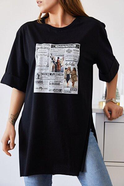 Kadın Siyah Gazete Baskılı Boyfriend Yırtmaçlı T-shirt 9KXK1-43319-02