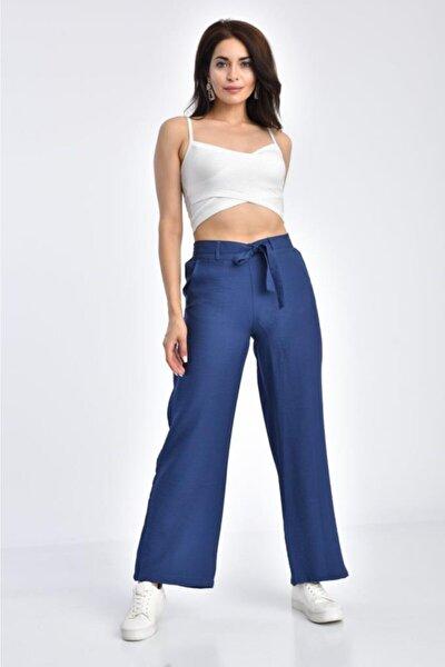Kadın Lacivert Belden Lastikli Kuşaklı Bol Paça Indigo Keten Pantolon