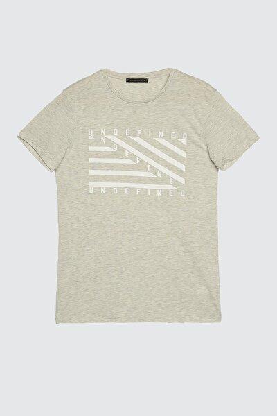Gri Erkek Baskılı Slim Fit T-Shirt TMNSS20TS0079