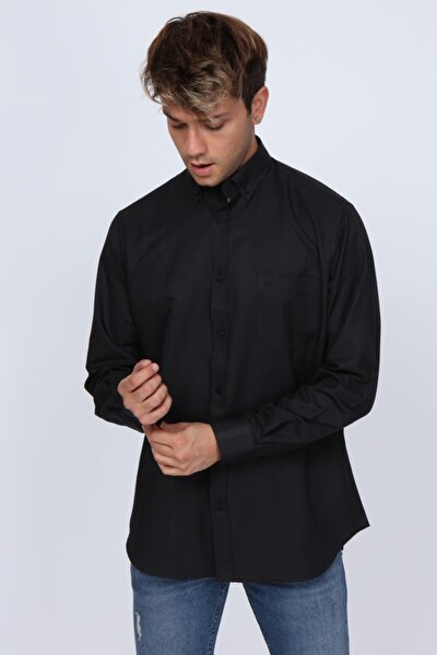 Club Cepli Regular Fit Siyah Erkek Gömlek