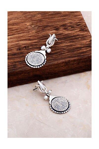 Antik Tasarım Sikke Gümüş Küpe 4781