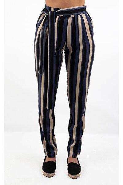 Bağlama Detaylı Ceplı Çizgili Casual Pantolon, Lacivert-siyah (b19-45704)