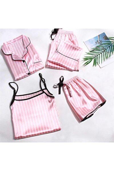 Siyah Biyeli Pink 5 Li Saten Pijama Seti
