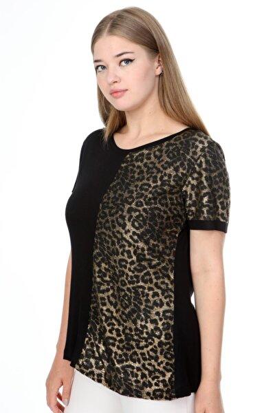 Siyah Leopar Detaylı Kısa Kol Viskon Büyük Beden Bluz
