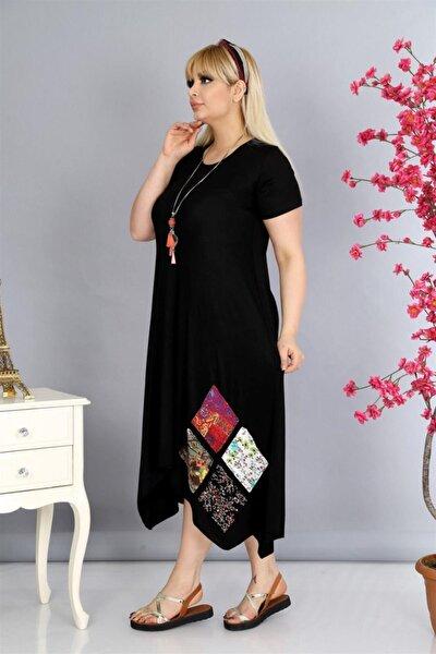 Kadın Siyah Asimetrik Kesim Yama Detaylı Viskon Elbise PV0028
