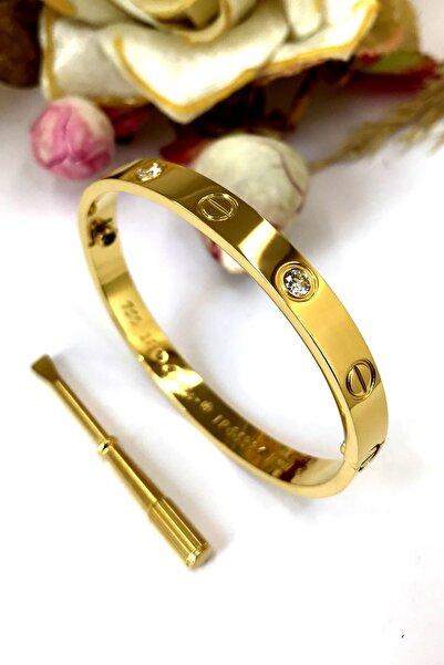 Vidalı Cartier Zirkon Taşlı Çelik Bayan Bileklik Bilezik 18 Cm