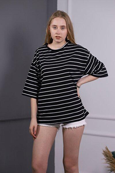 Kadın Siyah Çizgili Yetim Kol T-shirt