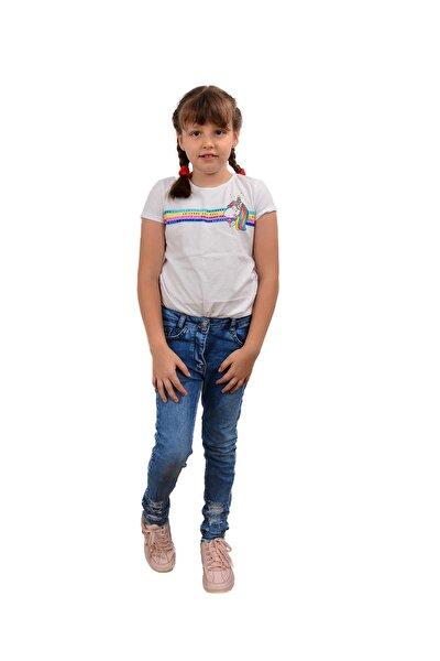Kız Çocuk Mavi Deniz Pantolon