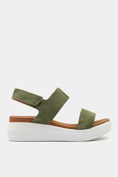 Hakiki Deri Yeşil Kadın Düz Sandalet