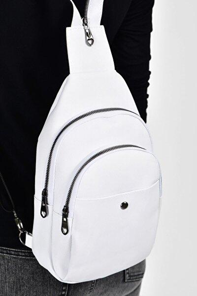 Beyaz Kadın  Trok Detaylı İki Bölmeli Bel Çantası 10RZ3006