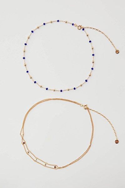Kadın Altın Rengi Mavi Charm Uçlu Altın Rengi Kolye Seti 09996319
