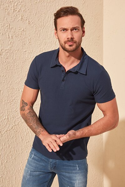Lacivert Erkek Slim Fit Dokulu Polo Yaka T-Shirt TMNSS20PO0002