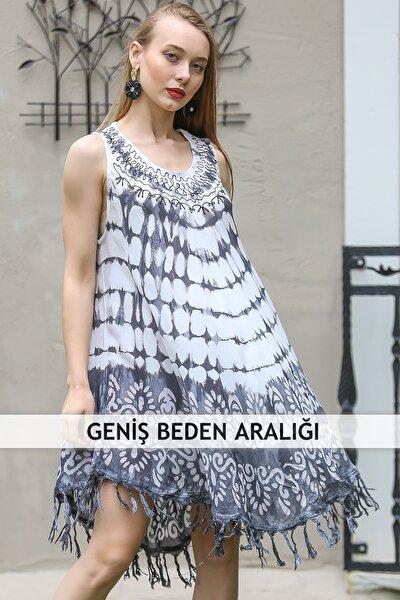 Kadın Gri Bohem Batik Desenli Saçaklı Asimetrik Elbise M10160000EL96647
