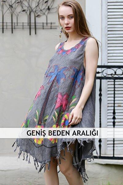 Kadın Gri Bohem Palmiye Baskılı Saçaklı Askılı Yıkamalı Kloş Elbise M10160000EL96736