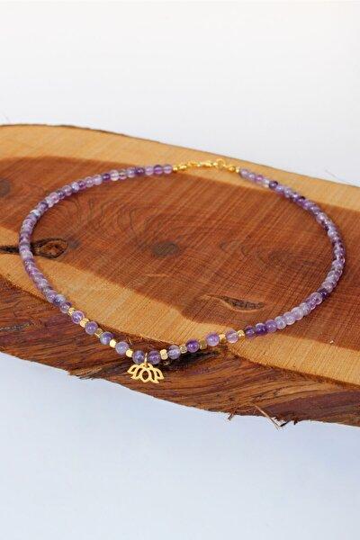 Ametist doğal taşlı kadın kolye - lotus çiçeği