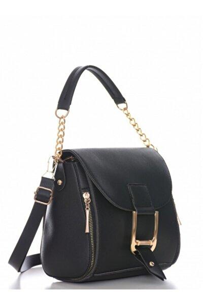Kadın Siyah Tokalı Çapraz Askılı El Ve Omuz Çantası Gc002700