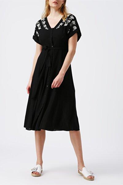 Kadın Siyah Beli Kuşaklı V Yakali Midi Elbise