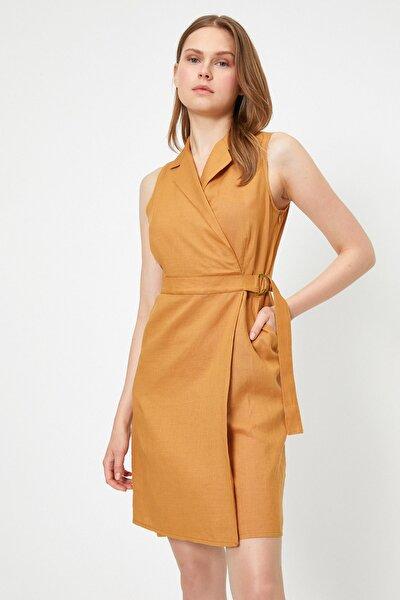 Kadın Hardal Elbise 9YAK88894PW
