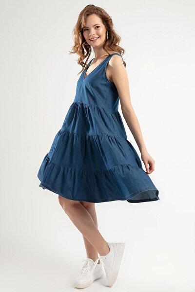Kadın Denim Askılı Büzgü Detaylı Kot Elbise PTTY20S-690