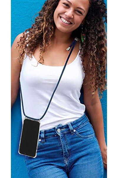 Iphone X Için Boyun Askılı Şeffaf Çok Şık Kılıf Siyah Ipli
