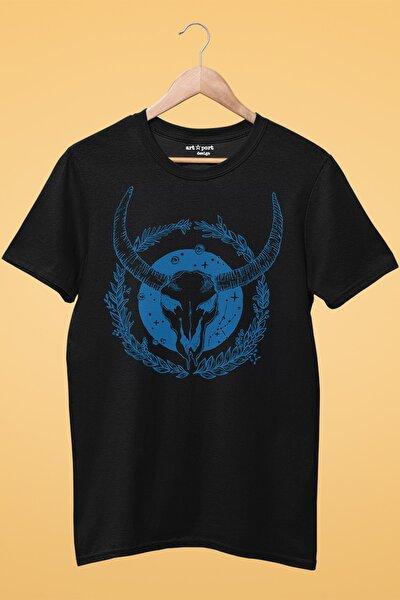 Unisex Siyah Ruh Öküzü Tasarım Baskılı T-shirt