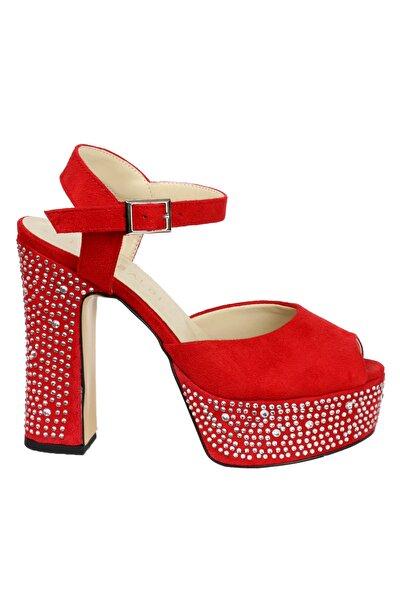 Kadın Kırmızı Taşlı Platformlu Süet Ayakkabı