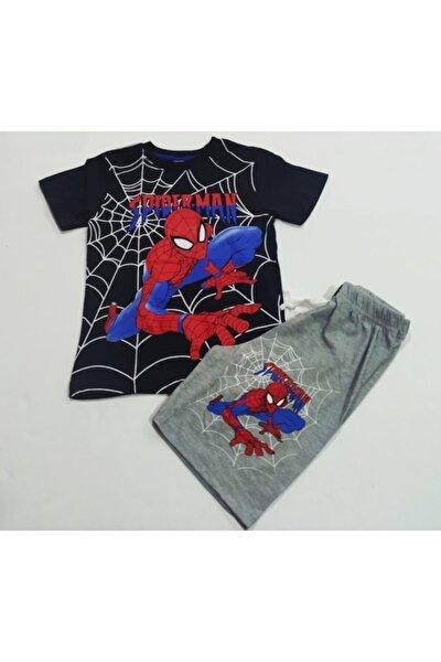 Erkek Çocuk  Siyah Spiderman Baskılı Alt Üst Takım